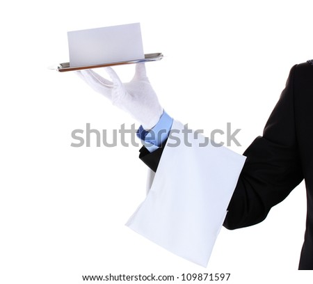 formal waiter with menu on a silver tray isolated on white - stock photo