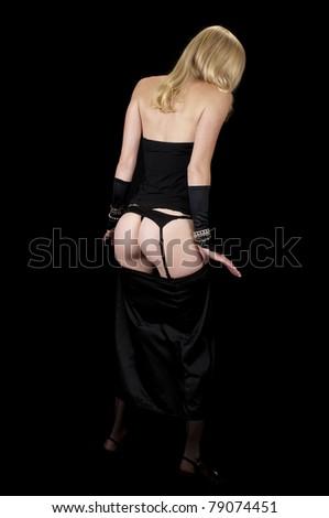 Formal Wear Striptease #10:  Removing her slip. - stock photo