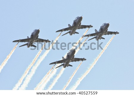 Formation of fighter planes - stock photo