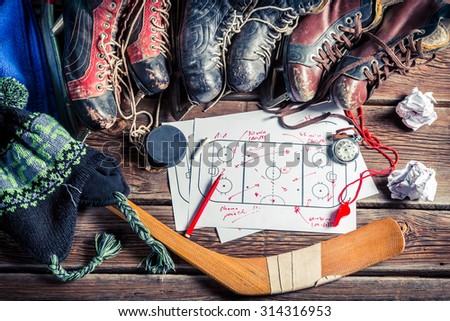 Formation tactics in hockey matches - stock photo