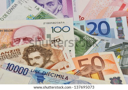 former european national currencies and new european currency Euro - stock photo