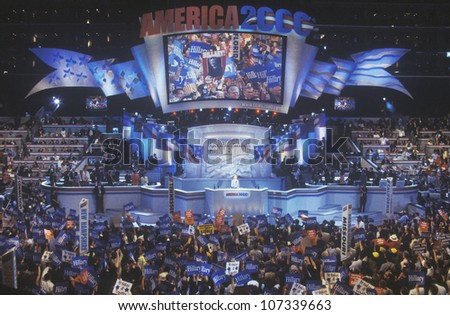 Former First Lady Hillary Rodham Clinton, the candidate for New York Senate, at the 2000 Democratic Convention at the Staples Center, Los Angeles, CA - stock photo