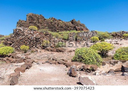 Former settlement on the tableland La Merica on the long distance trail to Arure in the highlands of La Gomera. The settlement is located on the Barranco de Arure. A side valley of the Valle Gran Rey - stock photo