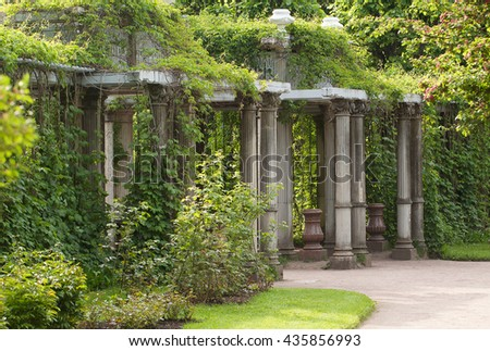 Former terrace in green summer park - stock photo
