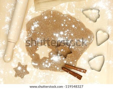 forms of metal rolling pin flour cinnamon xmas christmas sweets - stock photo