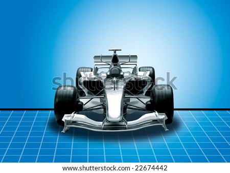 formula one car in black with blue background - stock photo