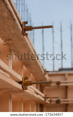 formwork for the concrete foundation, building site, vertical, outdoors - stock photo