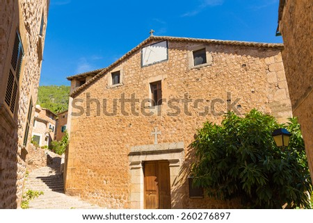 Fornalutx village church in Majorca Balearic island Mallorca spain - stock photo