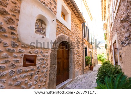Fornalutx village in Majorca Balearic island Mallorca spain - stock photo