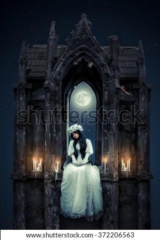 Forsaken bride - stock photo