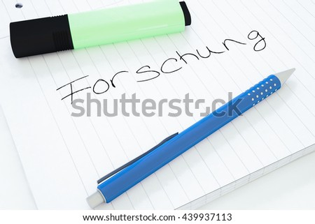 Forschung - german word for research - handwritten text in a notebook on a desk - 3d render illustration. - stock photo