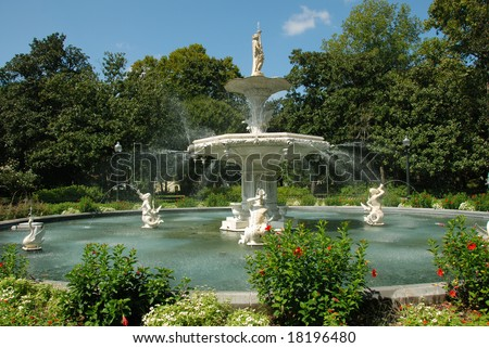 Forsyth Park Fountain in Savannah Georgia - stock photo