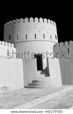 fort battlement sky and    star brick in Oman muscat the old defensive   - stock photo
