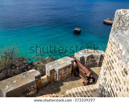Fort Beekenburg  and kayakers - Views around Curacao a Caribbean Island - stock photo