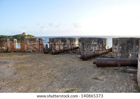 Fort Beekenburg, Caracas Bay, Curacao, Netherlands Antilles, West Indies. The fort was built in 1703 and has been used to fight off pirates, the French and the English. - stock photo