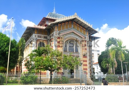 FORT-DE-FRANCE, MARTINIQUE - DECEMBER 16, 2014: Architectural detail of the Schoelcher library built in 1889 then shipped piece by piece to the island Martinique - stock photo