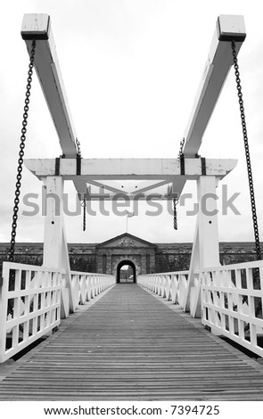 Fort George Drawbridgein black and white - stock photo
