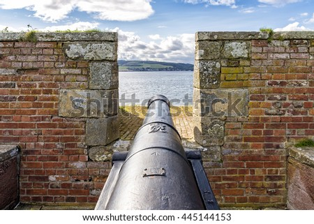 Fort George, United Kingdom - August 19, 2014: 18th Century cannon at Fort George military fortress. The fort was built to pacify the Scottish Highlands in the aftermath of the Jacobite rising of 1745 - stock photo