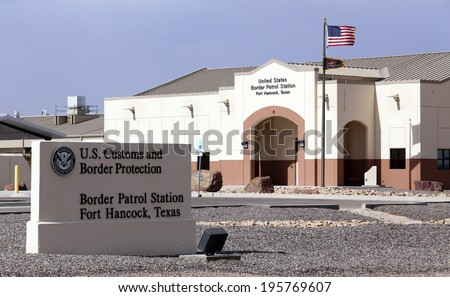 FORT HANCOCK, TX - MARCH 15: A U.S. Customs and Border protection station located in Fort Hancock, Texas on March 15, 2014. CBP is part of the United States Department of Homeland Security. - stock photo