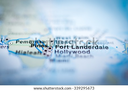 Fort Landerdale close up on map. Shallow depth of field. (vignette) - stock photo