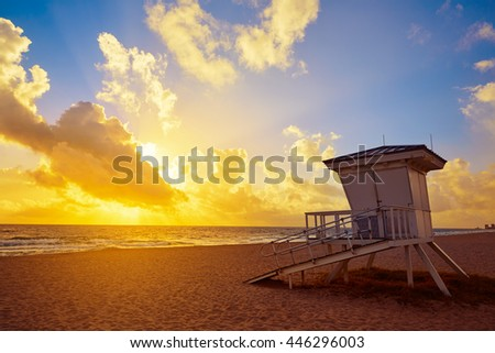 Fort Lauderdale beach morning sunrise in Florida USA baywatch tower - stock photo