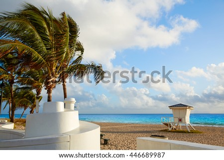 Fort Lauderdale beach morning sunrise in Florida USA palm trees - stock photo