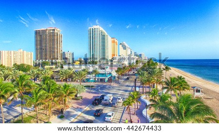 FORT LAUDERDALE - FEBRUARY 25, 2016: City aerial skyline on a sunny morning. Fort Lauderdale is a preferred tourist destination. - stock photo