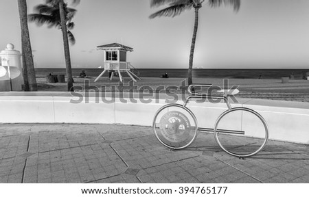 FORT LAUDERDALE, FL - JANUARY 10, 2016: City night life at dusk. Fort Lauderdale is a preferred tourist attraction in Florida during winter time. - stock photo