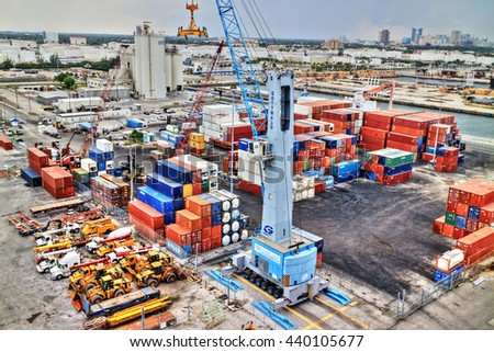 Fort Lauderdale, FL - May. 21, 2016: HDR image of Port Everglades. - stock photo