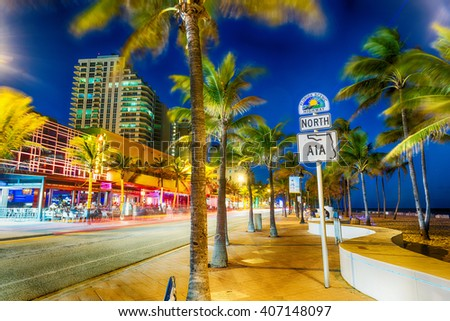 FORT LAUDERDALE - JANUARY 10, 2016: Oceanwalk at sunset. Fort Lauderdale is a major destination for tourists in Florida. - stock photo
