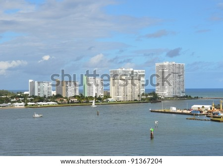 Fort Lauderdale skyline seen from the ocean, Florida USA - stock photo