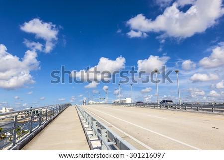 FORT LAUDERDALE, USA - AUG 1, 2010: Bascule bridge over Stranahan River in Fort Lauderdale, USA. The A1A at 17th street crosses the bridge. - stock photo