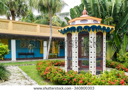 FORT LAUDERDALE, USA - DEC 6, 2015: Courtyard of Bonnet House estate and museum in Fort Lauderdale, Florida, USA - stock photo