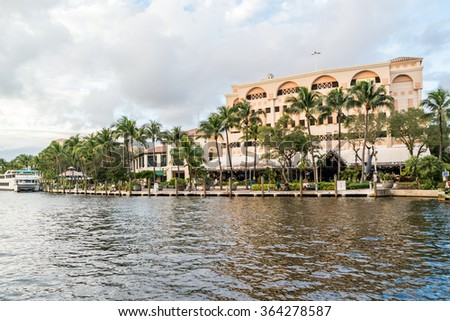 FORT LAUDERDALE, USA - DEC 6, 2015: Riverwalk and bars along New River in downtown Fort Lauderdale, Florida, USA - stock photo