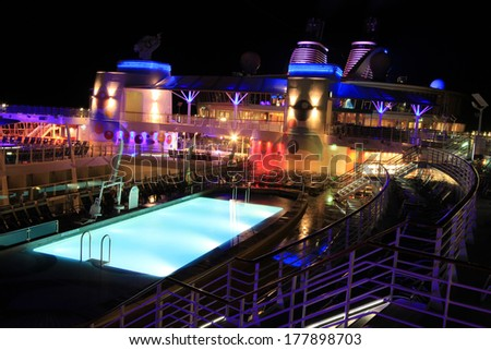 FORT LAUDERDALE, USA,� MAY 11: Royal Caribbean, Oasis of the Seas docked in Fort Lauderdale, USA on May 11 2011. The 2nd largest passenger ship ever constructed behind sister ship Allure of the Seas. - stock photo