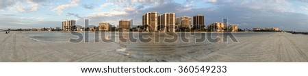 Fort Myers Beach skyline at sunset - stock photo