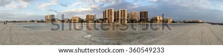 Fort Myers Beach skyline at sunset - stock photo