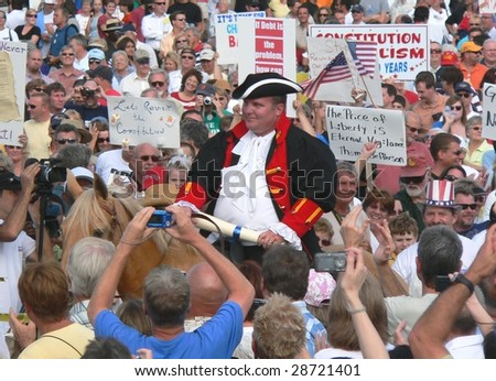 FORT MYERS, FL - APRIL 15: Tax Day Tea Party event as the Town Crier arrives in Ft. Myers on April 15, 2009 in Fort Myers. - stock photo