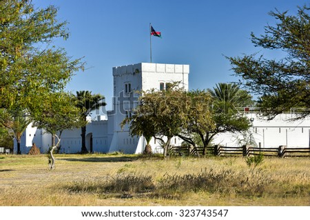 Fort Namutoni in Etosha National Park in Nambia, Africa. It was originally a German police post. - stock photo