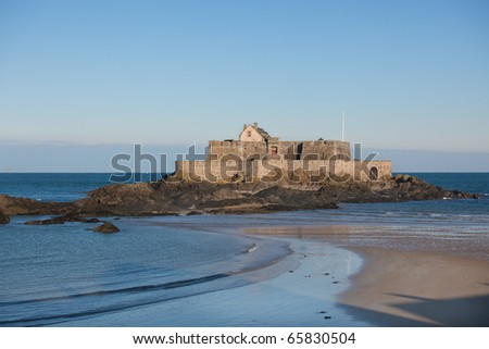 Fort National in Saint Malo (France). Horizontal shot - stock photo