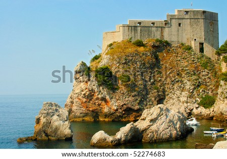 Fort on the hill in Dubrovnik (Croatia) - stock photo