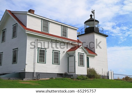 Fort Point Lighthouse in Stockton Springs, Maine - stock photo