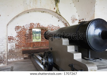 Fort Pulaski National Monument built 1829 to 1847, Confederate cannon guarding  the fort - stock photo