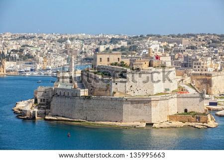 Fort St Elmo as seen from Upper Barrakka Gardens - stock photo