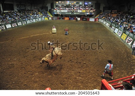 Fort Worth, Texas, USA, March. 24, 2012: Rodeo at Fort Worth Stockyards Historic District, former livestock market, now main tourist attraction in Fort Worth, TX - stock photo