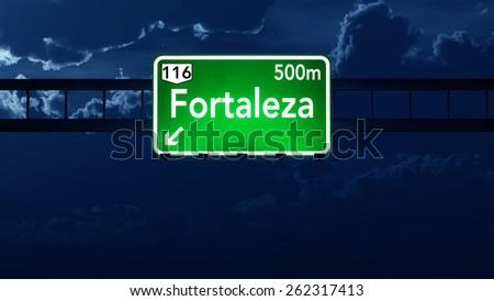 Fortaleza Brazil Highway Road Sign at Night - stock photo