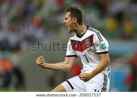 FORTALEZA, BRAZIL - June 21, 2014: Klose of Germany celebrates during the World Cup Group G game between Germany and Ghana at Estadio Castelao. No Use in Brazil.  - stock photo