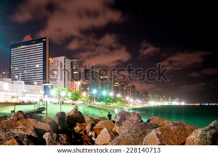 FORTALEZA, BRAZIL - OCTOBER 31, 2014: Coast Line of Fortaleza, Ceara State, city of northeast of Brazil . - stock photo