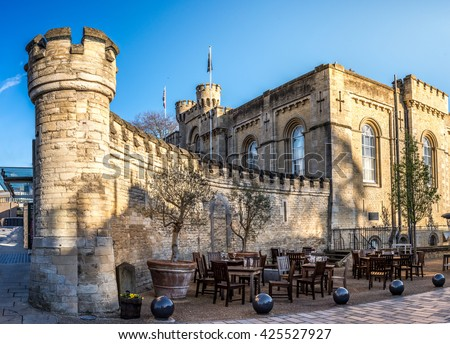 Fortification wall and entrance of the Oxford castle. - stock photo