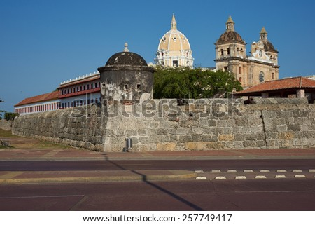 Fortified wall built to defend the historic Spanish colonial city of Cartagena de Indias in Colombia - stock photo